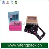 Colorful cardboard presentation boxes, cardboard packaging with window, cardboard paper gift box