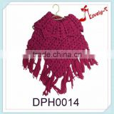 wholesale big collar hand knitting baby girls winter warm fashion acrylic poncho shawl with tassels