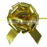 "5.5"" Glitter Golden pp Ribbon Pull Bow For Christmas Gift packing/matte metallic golden pull ribbon bow"