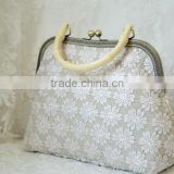 hand made cotton Lace lady hand bag purse wallet with chain tote bag gift bag bag in fabric