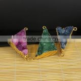 JF8569 Wholesale gold plated edge sparkly natural crystal quartz druzy triangle charm connectors