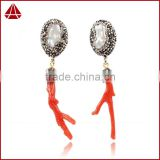 Silver Plated Natural Pearl & Raw Red Coral With Black Gun Zircon Dangle Stud Earrings Jewelry