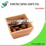 Zinc Alloy Manual Nut Cracker With Wooden Bowl Set