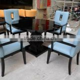 Round dining table and blue leather arm chairs XY0188