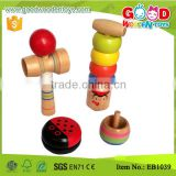 Wholesale Wooden Kids Play Mini Toy Set include yoyo toys, kendama, spinning top