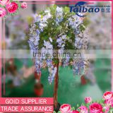 "Wedding decoration natural wooden trunk 47"" tall blue wisteria artificial flowers tree"