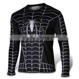 Polyester Spandex Long Sleeves Black Compression Shirt / Rash Guard with Superior Spider Web design