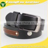 2015 new arrive designer man black PU leather belt for jeans with shiny metal rivet accessories