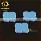 wholesale machine cut 12*12mm four leaf clover blue turquoise