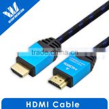 Metallic Shinning HDMI cable A male to A male with Cotton Sleeve for Blue ray DVD