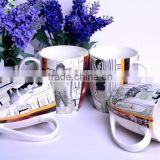 12oz Bone china mug wholesale starbucks plate bowl coffee cup mug tea set paper cups
