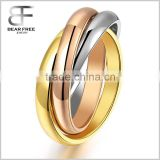 Stainless Steel Tri color Interlocked Rolling Band Ring for Women
