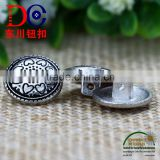 New Arrival Flower Shape Metal Shank Buttons Black Sewing Button for Coat
