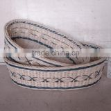 Blue Set/2 Nested Oval Bamboo And Rattan Basket