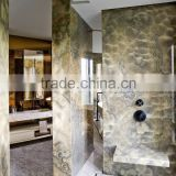 China Factory Glass Partition Wall Art Beige Marble Tile