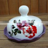 Purple Flower Shaped Ceramic Butter Dish with Flower Decal White Cover