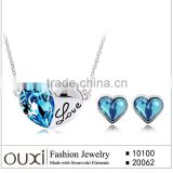 Rhodium Plated Blue Heart Necklace and Ear Stud Jewelry made with Crystal 10100 + 20062