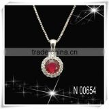 Ruby Elegance Diamond Cluster Necklace