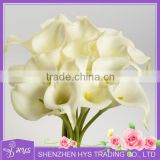 real touch pure white artificial PU calla lily for shopping mall decoration