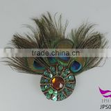 New beads peacock feather hair button party headwear