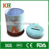 China OEM 4C Printing Metal Mold Available Round Tin Can Coin Bank/ Box For Storage Money