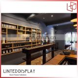 Customized cafe bar display cabinets with coffee bar counter chairs on promotion