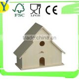 customized natural hanging wooden bird house