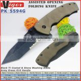 "(PK-5594G) Custom NEW HOT 4.7"" Army Green G10 Handles Assisted Opening Pocket Foldable Knife"