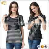 Ecoach super comfort Summer short sleeve classic stripe breastfeeding maternity tops pregnant women wholesale nursing top
