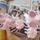 2014 Latest design! Fashion Cheaper Zebra prints w flower flower Infant shoes,baby shoes,prewalker shoes wholesale