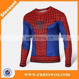 New Runtowell Hero series spideman red and bule long sleeve t shirts bike clothing and wholesale T shirt