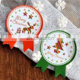 Badge Shape Colorful Red Green Christmas ThemeBox Bag Label Baking Bag Sealing Sticker Baby Shower Gift Decoration Craft Packing