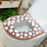Magic Adhesive Bathroom Toilet Closestool Warmer Washable Soft Washable Seat Cover Pads,Coral jacquard Nien toilet seat cover