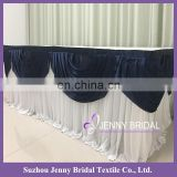 TC182A navy blue ice silk valance table skirting designs for wedding