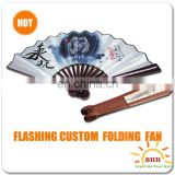 Chinese personalized hand fan, custom printed folding hand fan, led lighted hand fans