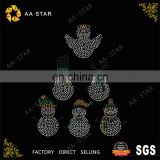 Six different kind of snowmans pattern acrylic rhinestone motif