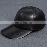 Men Faux Leather Warm Baseball Cap Causal Windproof Peaked Cap Adjust Snapback