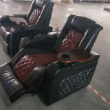 Real genuine leather power recliner theater sofa with cool cupholder