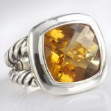 Sterling Silver Jewelry 14mm Citrine Albion Split-Shank Ring(R-086)