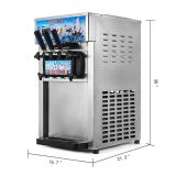 Hot Sale Soft Ice Cream Machine 3-Flavor Frozen Ice Cream Yogurt Maker With 18L/H Lcd Display