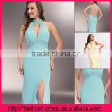 Shealth High Neck Floor Length Open Back Chiffon with Beaded Side Slit Empire Waist High Neck Evening Dresses