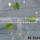 Clear Leaf Design Glass Soup Plate and Pizza Plate with Round Shape for Elegant Charger Plate
