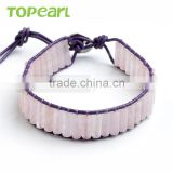 Topearl Jewelry Rose Quartz Bracelet Woven Leather Wrap Bangle 7.5 Inches CLL122