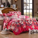 Newest design red flower pattern home use flannel fleece quilt cover set kids bedroom sets