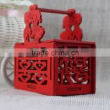 New 2016 Romantic Wedding China Red Laser wooden Decorative Candy Boxes