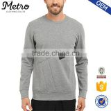 2016 Wholesale Custom Mens Grey Zip Crew-neck Sweatshirts