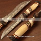 Damascus blade hunting knife with camel bone handle