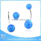 2016 Hot Sale Stainless Steel Navel Belly Ring Opal Navel Piercing