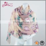 High Quality Chiffon Solid Colorful Butterfly Printing Muslim Scarf Hijab Scarves
