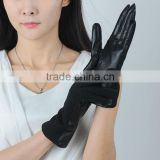 womens durable warm stylish knitted wool joint palm leather gloves